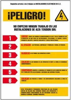 Cartel recomendaciones instalaciones eléctricas de alta tensión ¡Peligro!