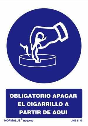 Obligatorio apagar el cigarrillo a partir de aquí