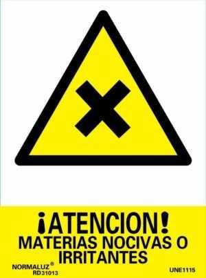 ¡Atención! materias nocivas o irritantes