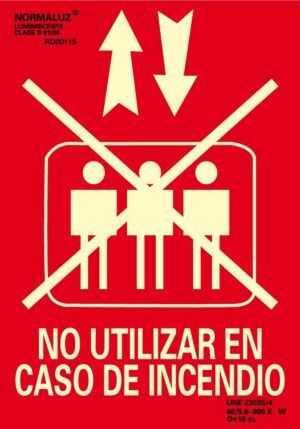 Señal – No utilizar en caso de incendio