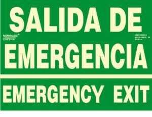 Salida de emergencia emergency exit