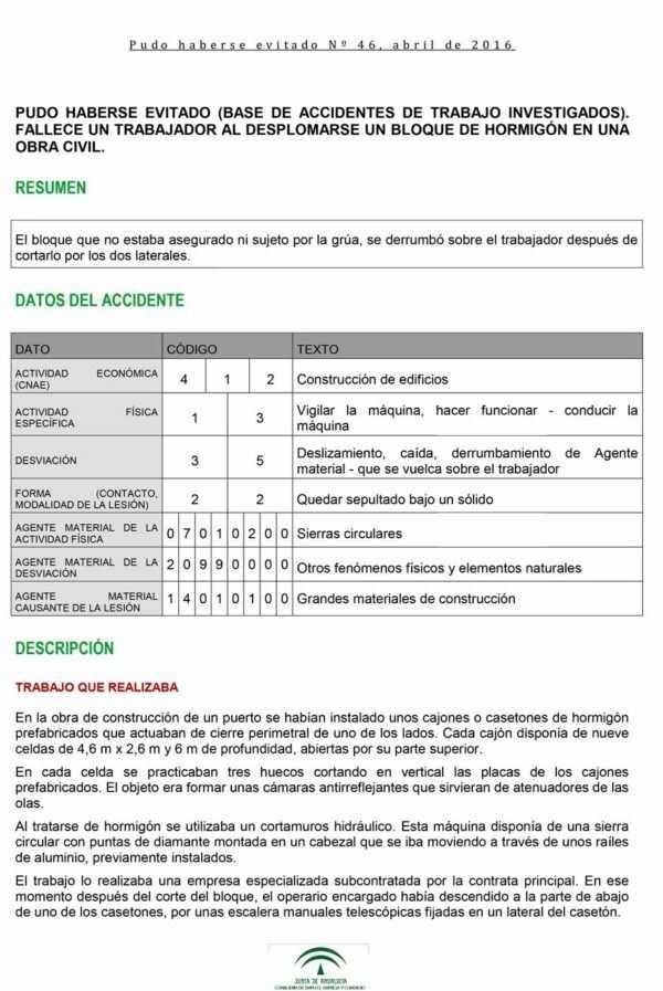 Imagen del archivo descargable sobre Prevención de Riesgos Laborales: Pudo haberse evitado Nº46, abril de 2016