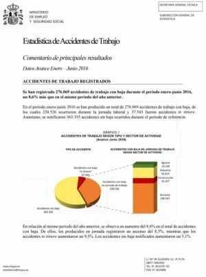 Estadística de Accidentes de Trabajo / Datos Avance Enero – Junio 2016