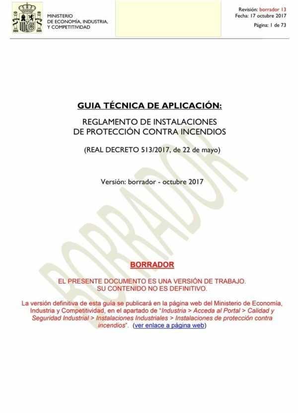 Imagen del archivo descargable sobre Prevención de Riesgos Laborales: GUIA TÉCNICA DE APLICACIÓN: REGLAMENTO DE INSTALACIONES DE PROTECCIÓN CONTRA INCENDIOS - Borrador