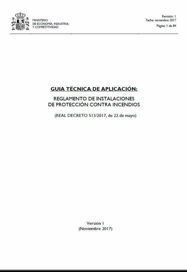 Imagen del archivo descargable sobre Prevención de Riesgos Laborales: Reglamento de Instalaciones de Protección Contra Incendios. Guía Técnica de Aplicación