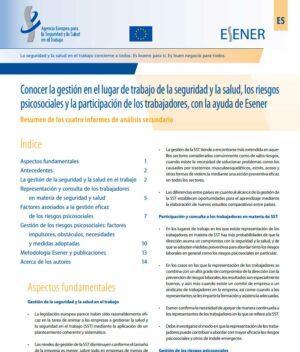 Informe Conocer la gestión en el lugar de trabajo de la seguridad y la salud, los riesgos psicosociales y la participación de los trabajadores, con la ayuda de Esener