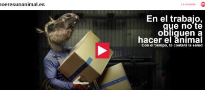 UGT relanza la campaña: En el trabajo que no te obliguen a hacer el animal